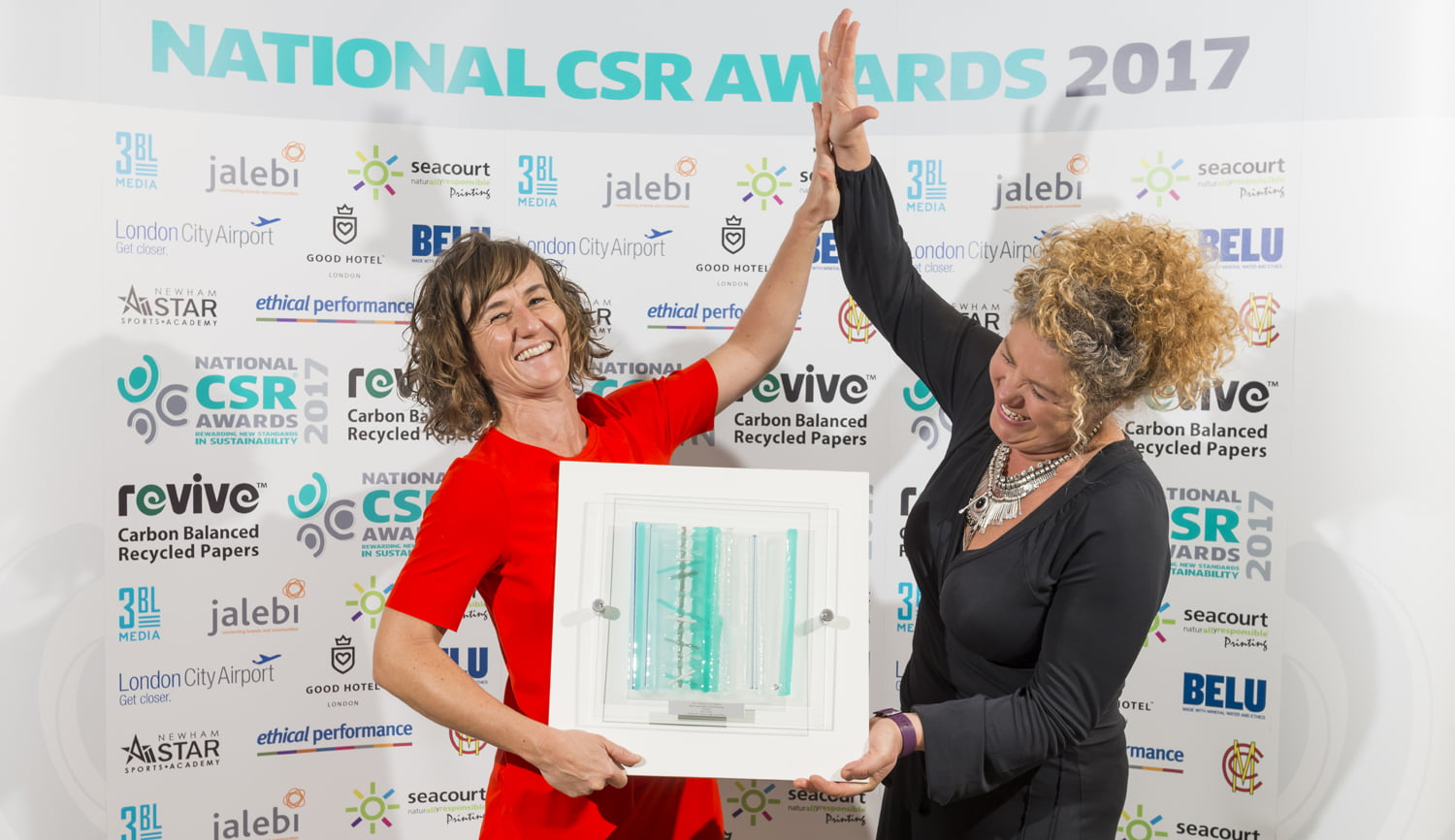 Belu CEO Karen Lynch (right) and Marketing Director Claire Pearson (left) pick up Best Sustainable Small Business in 2017